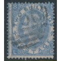GREAT BRITAIN - 1862 2/- cobalt QV, plate 1, spray of rose watermark, used – SG # 120a