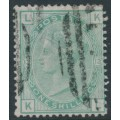 GREAT BRITAIN - 1875 1/- green QV, plate 13, spray of rose watermark, used – SG # 150