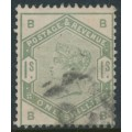 GREAT BRITAIN - 1883 1/- dull green QV, crown watermark, used – SG # 196