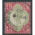 GREAT BRITAIN - 1892 4½d green/carmine QV Jubilee issue, used – SG # 206