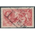 GREAT BRITAIN - 1934 5/- bright rose-red Sea Horses, re-engraved, used – SG # 451