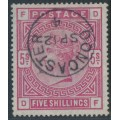 GREAT BRITAIN - 1884 5/- rose QV, Anchor watermark, has faked bluing of the paper, used – SG # 176