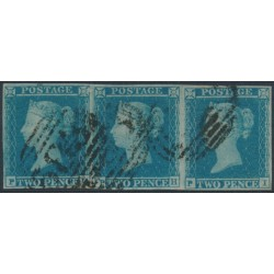 GREAT BRITAIN - 1841 2d blue QV, strip of 3, imperforate, plate 4, check letters PG+PH+PI, used – SG # ES13h