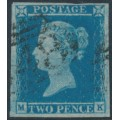GREAT BRITAIN - 1849 2d blue QV, imperf., plate 4, thin paper & shifted transfer, used – SG # ES14e+q