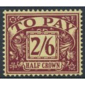 GREAT BRITAIN - 1954 2/6 purple on yellow Postage Due, E2R Tudor Crown watermark, MNH – SG # D45