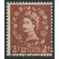 GREAT BRITAIN - 1959 2d brown QEII, phosphor & graphite lines, watermark error, used – SG # 605a