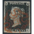 GREAT BRITAIN - 1840 1d intense black QV (penny black), plate 1b, check letters JF, used – SG # 1