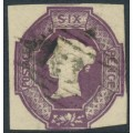 GREAT BRITAIN - 1854 6d mauve embossed QV, inverted & reversed VR watermark, used – SG # 58Wk