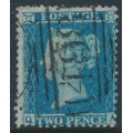 GREAT BRITAIN - 1855 2d blue Queen Victoria, perf. 14, plate 5, check letters QA, used – SG # 34