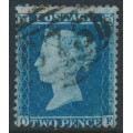 GREAT BRITAIN - 1857 2d blue Queen Victoria, perf. 14, plate 6, check letters OF, used – SG # 35