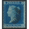 GREAT BRITAIN - 1857 2d deep blue Queen Victoria, perf. 14, plate 6, check letters PI, used – SG # 35