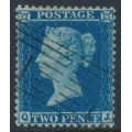 GREAT BRITAIN - 1857 2d deep blue Queen Victoria, perf. 14, plate 6, check letters QJ, used – SG # 35