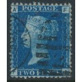GREAT BRITAIN - 1869 2d deep blue Queen Victoria, plate 14, letters AF/FA, used – SG # 47