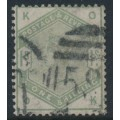 GREAT BRITAIN - 1883 1/- dull green Queen Victoria, crown watermark, used – SG # 196