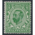 GREAT BRITAIN - 1911 ½d bright green KGV (die B), inverted crown watermark, MH – SG # 325Wi