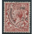 GREAT BRITAIN - 1924 1½d red-brown KGV, on experimental paper, used – SG # 420g