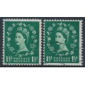 GREAT BRITAIN - 1961 1½d green QEII, sideways crown watermark (both directions), used – SG # 572b