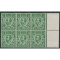 GREAT BRITAIN - 1912 ½d deep green KGV (die 2), crown watermark, block of 6, MNH – SG # 338