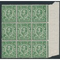 GREAT BRITAIN - 1912 ½d green KGV (die 2), crown watermark, block of 9, MNH – SG # 339