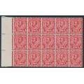 GREAT BRITAIN - 1912 1d scarlet KGV (die 2), block of 15 with 'no cross on crown', MNH – SG # N11b
