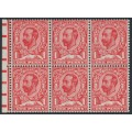 GREAT BRITAIN - 1912 1d scarlet KGV, Simple Cypher watermark, booklet pane of 6, MNH – SG # 336