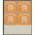 GREAT BRITAIN - 1956 ½d orange Postage Due, block of 4 with a variety, MNH – SG # D46