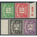 GREAT BRITAIN - 1937 ½d to 3d Postage Dues, GVIR watermark, MH – SG # D27-D30