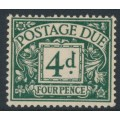 GREAT BRITAIN - 1937 4d dull grey-green Postage Due, GVIR watermark, MH – SG # D31