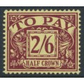GREAT BRITAIN - 1938 2/6 purple on yellow Postage Due, GVIR watermark, MH – SG # D34