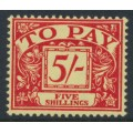 GREAT BRITAIN - 1955 5/- scarlet on yellow Postage Due, crown E2R watermark, MH – SG # D55