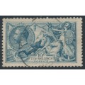 GREAT BRITAIN - 1919 10/- dull grey-blue Sea Horses (Bradbury, Wilkinson printing), used – SG # 417