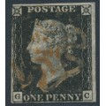 GREAT BRITAIN - 1840 1d black QV (penny black), plate 2, check letters GC, used – SG # 2 (AS15f)