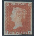 GREAT BRITAIN - 1852 1d red-brown QV, plate 154, check letters PF, MNG – SG # 8