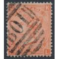 GREAT BRITAIN - 1865 4d vermilion QV, Garter watermark, B01 cancel (= Alexandria) – SG # 95 / Z17