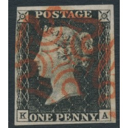 GREAT BRITAIN - 1840 1d black QV (penny black), plate 1b, check letters KA, used – SG # 2