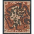 GREAT BRITAIN - 1841 1d red-brown QV, plate 19, check letters CG, used – SG # 8l