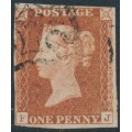 GREAT BRITAIN - 1841 1d red-brown QV, plate 20, check letters FJ, used – SG # 8l