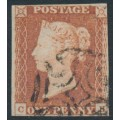 GREAT BRITAIN - 1841 1d red-brown QV, plate 22, check letters CE, used – SG # 8l