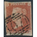 GREAT BRITAIN - 1844 1d red-brown QV, plate 43, check letters GL, used – SG # 8