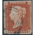 GREAT BRITAIN - 1845 1d red-brown QV, plate 53, check letters FF, used – SG # 8