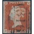 GREAT BRITAIN - 1845 1d red-brown QV, plate 56, check letters DC, used – SG # 8