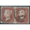 GREAT BRITAIN - 1848 1d red-brown QV, plate 80, pair, check letters IG+IH, used – SG # 8