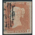 GREAT BRITAIN - 1848 1d red-brown QV, plate 81, check letters DF, used – SG # 8