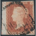 GREAT BRITAIN - 1852 1d red-brown QV, plate 143, check letters KA, used – SG # 8