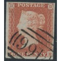 GREAT BRITAIN - 1853 1d red-brown QV, plate 173, check letters EB, used – SG # 8
