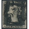 GREAT BRITAIN - 1840 1d black QV (penny black), plate 4, check letters AD, used – SG # 2