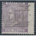 GREAT BRITAIN - 1862 6d lilac Queen Victoria, Emblems watermark, used – SG # 84