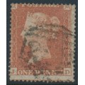GREAT BRITAIN - 1854 1d red-brown QV, plate 175, check letters JD, used – SG # 17 (C1)