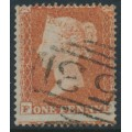 GREAT BRITAIN - 1854 1d red-brown QV, plate 202, check letters FF, used – SG # 17