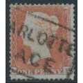 GREAT BRITAIN - 1854 1d red-brown QV, plate R6, check letters AF, used – SG # 17 (C1)